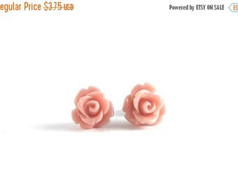 25% OFF SALE Tiny Coral Rose Earrings, Bridesmaids Gift