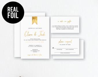 Gold Foil Wedding Invitation. Real Foil. Modern Wedding Stationery. Simple Wedding Invitation. Monogram