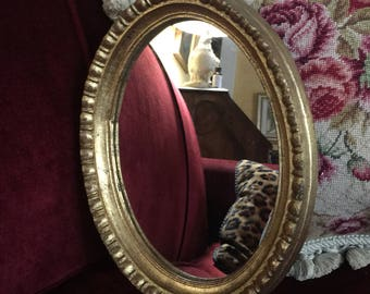 French Country Traditional Beaded gilded gold Florentine Oval Mirror