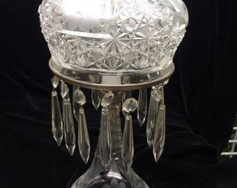 Vintage Cut, Presed and Etched Glass Boudoir Lamp with Prisms, ca 1940s
