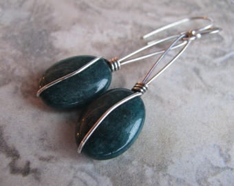 Apatite and Sterling Silver Earrings Handmade/Hand Forged Dangle Earrings-ToniRaeCreations