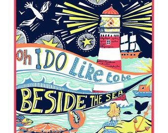 Beside the sea greeting card by Kate Cooke