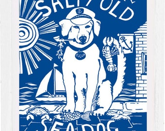 Salty old sea dog, Art print, signed and mounted