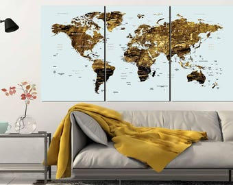 Gold Color Map Art,World Map Canvas Art,World Map Wall Art,Large World Map,World Map Push Pin,World Map Print,World Map Art,Abstract Map Art