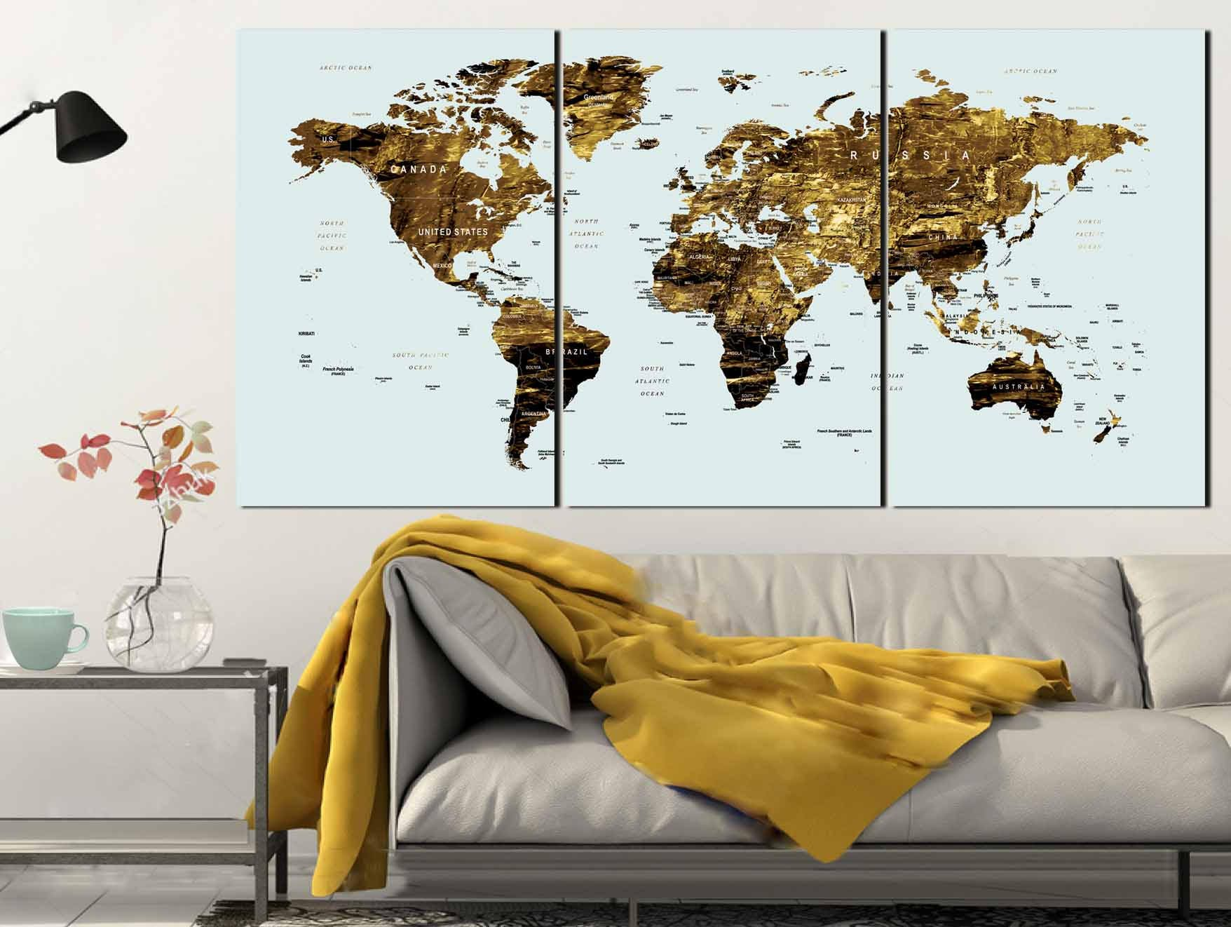 Gold color map artworld map canvas artworld map wall artlarge gold color map artworld map canvas artworld map wall artlarge world mapworld map push pinworld map printworld map artabstract map art gumiabroncs Gallery