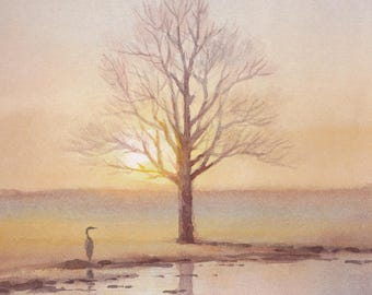 A Tree and an Egret - Art Print of Watercolor Painting - Trees, Nature, Lake, Field -  Peaceful Gift Watercolors