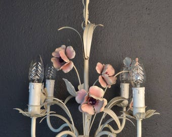 Painted toleware chandelier with metal flowers