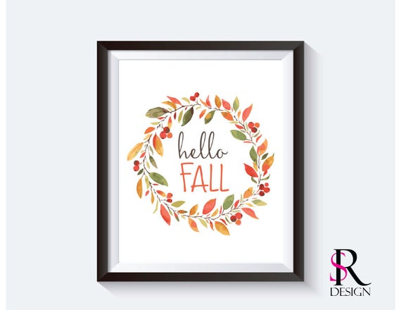 """Fall Printable, Hello Fall Printable, 8x10"""""""