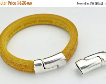 HOT DEAL Licorice Leather Curved Magnetic Overlap Side Clasp - Antique Silver - STRONG Magnetic Clasp - For 10x6Mm Cord - Qty.1