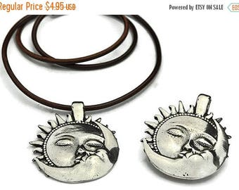 10% OFF Sun Kissed Moon Pendant - Antique Silver - 47MM - Qty. 1