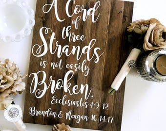 A Cord Of Three Strands Is Not Easily Broken Ecclesiastes 4:9-12 | Unity Candle | Wedding Sign | Wedding Decoration