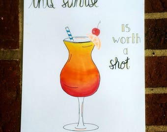 Tequila Sunrise Watercolor Lettering