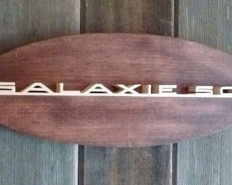 1965 Ford Galaxie 500 Emblem Oval Wall Plaque-Unique scroll saw automotive art created from wood.