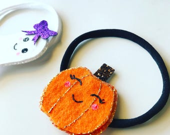 Glitter Pumpkin Headband or Clip