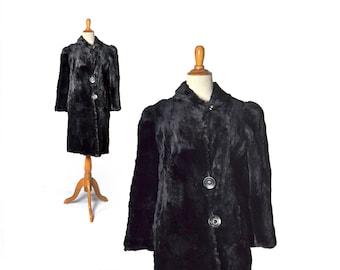 Black Fur Coat, 1930s coat, 30s coat, 1930s fur coat, 30s fur coat, vintage coat, beaver coat, 1930s clothing, womens coat