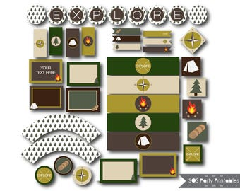 Explorer Party, Adventure Party Pack, Camping Birthday Printables, Campout Party Decorations, Boy scouts, Instant Download