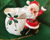 Vintage Christmas Santa Ceramic Planter Nippon Japan