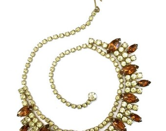 Jonquil and Topaz Rhinestone Necklace, Wedding Piece, Special Occasion, Prom