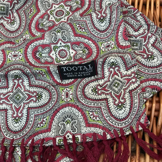 Tootal Scarf Paisley spotted beige burgundy mustard spotty long oblong tassel hem Mod vintage gent cravat Goodwood scooter 1950s
