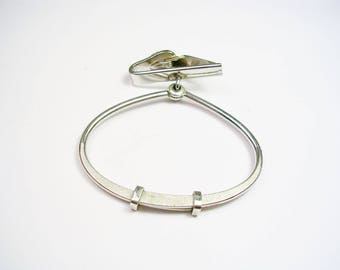 SWANK TIE RING silver tone Mad Men Style adjustable tie bar