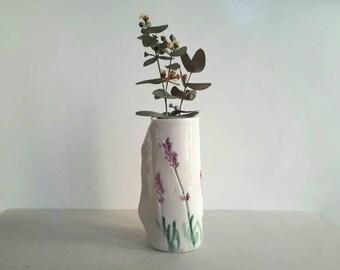 Botanical lavender ceramic vase, handmade organic shaped vase, provencal rustic home decor centerpiece, shabby chic