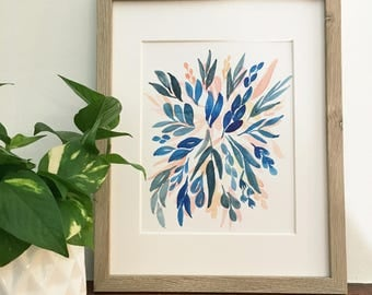 Indigo and coral floral burst | Original watercolor painting | One of a kind | Only one available | 8x10