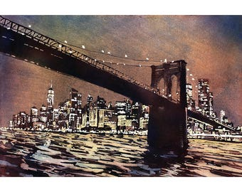 Brooklyn Bridge and skyscrapers of Manhattan at sunset in New York City- New York, USA.  Watercolor painting.  NYC skyline art watercolor