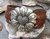 Metal Clay, Daisy Heart, Fine Silver, Leather, Bracelet, Cuff, Handmade, .999, Custom, Made to Order, Flowers, Nature, Statement