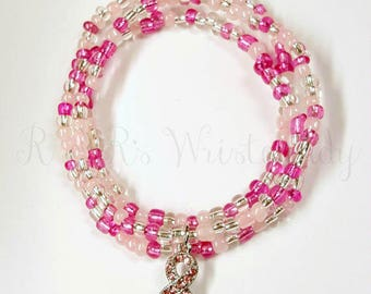 Pink Breast Cancer Beaded Bracelet Set, Breast Cancer Awareness, Stretchy, Think Pink,Handmade, Custom Beaded Jewelry