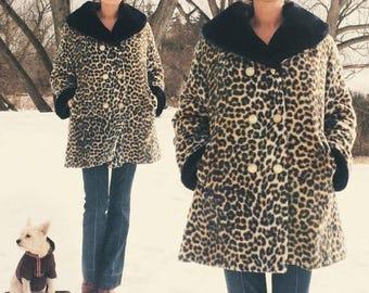 JUNE SALE Vintage 1960's Faux Leopard Glam Shawl Collar Swing Coat    Animal Vegan Friendly Faux Fur    Size Medium