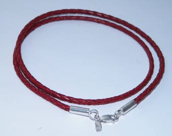 Sterling Silver 3mm Braided Genuine Leather Cord Necklace/Bracelet Lobster Clasp-Custom Length