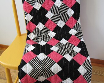 Modern stripes lap quilt, pink and balck and white, bedding, modern quilt, crosses, throw, quilt