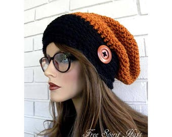 Orange and Black Slouchy Hat, Hippie Style Beanie, Fall Hat, October Trends, Hat With Button, Handmade, Womens Accessory, Teen Girl gift