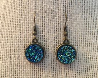 12mm Metallic Blue Faux Druzy Dangle Earrings