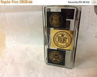 Winter Sale Scotch Liquor Decanter Black and Gold State Seal New York
