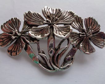 Vintage Signed MASJ Silvertone pewter Trio of Flowers Brooch/Pin