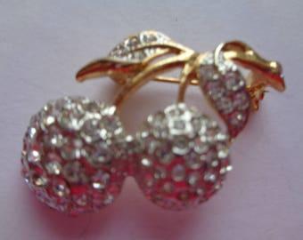 Vintage Unsigned Goldtone/AB Stones Cherries Brooch/Pin