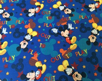 """Mickey Mouse Out to Play 100% cotton fabric 44"""" wide and 16"""" long"""