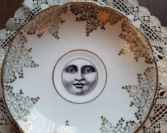 Vintage plate with moon decal