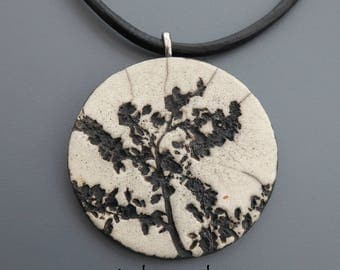 Crew neck, flowers #2 raku pendant Locket