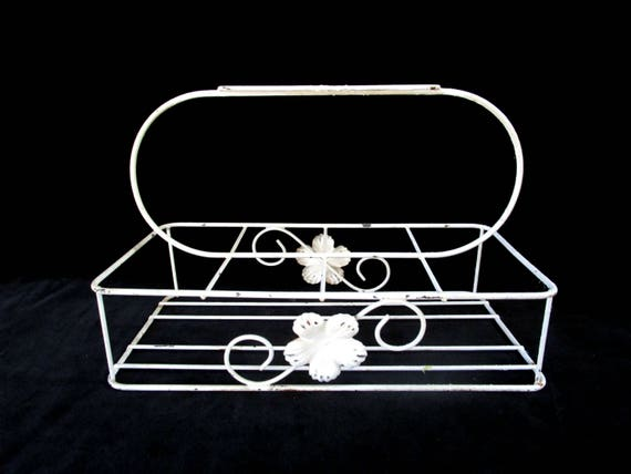 Vintage Glassware Caddy, Glassware Holder, Carry Caddy for 8, White Floral Caddy, Farmhouse Cottage Kitchen Decor