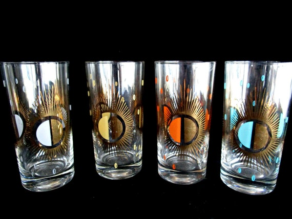 Fred Press Barware, Starburst Highballs, Set of 4, Mid Century Atomic Barware, Orange, Turquoise, Gold, White, 2 Sets Avail