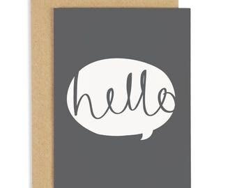 Hello Card - everyday greeting card - grey greeting card CC39