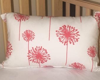 Accent Pillow - Coral Dandelions on White