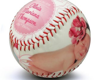 Baby Girl Birth Announcement - Custom Made Baseball, Baby Girl Gift, Newborn Announcement, Baseball Nursery, Newborn Stats, Sports Nursery