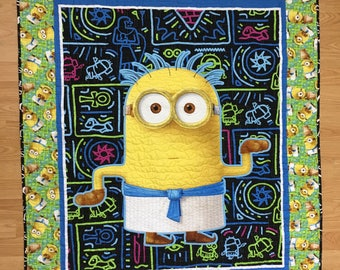 Minion quilt, baby quilt, quilt for child, novelty quilt, wheelchair quilt, made in Canada, #154