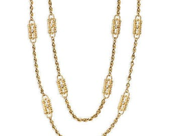 2 for 1 - JBK Paperclip Necklace Set - Gold Plated, Crystals, Box and Certificate - Jackie Kennedy Collection