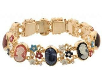 Jackie Kennedy Cameo Bracelet - Gold Plated, Stones, Box and Certificate - Sz 7 or 8