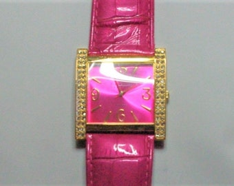 Joan Rivers Watch - Hot Pin with Crystals and Leather Band - S2390
