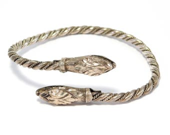 Old 935 European Silver Double Snake Serpent Bypass Bracelet